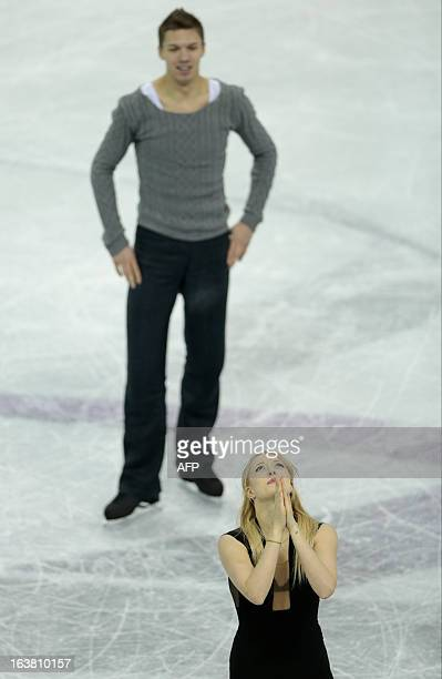 Ekaterina Bobrova and Dmitri Soloviev representing Russia skate their free program in the dance competition at the 2013 World Figure Skating...