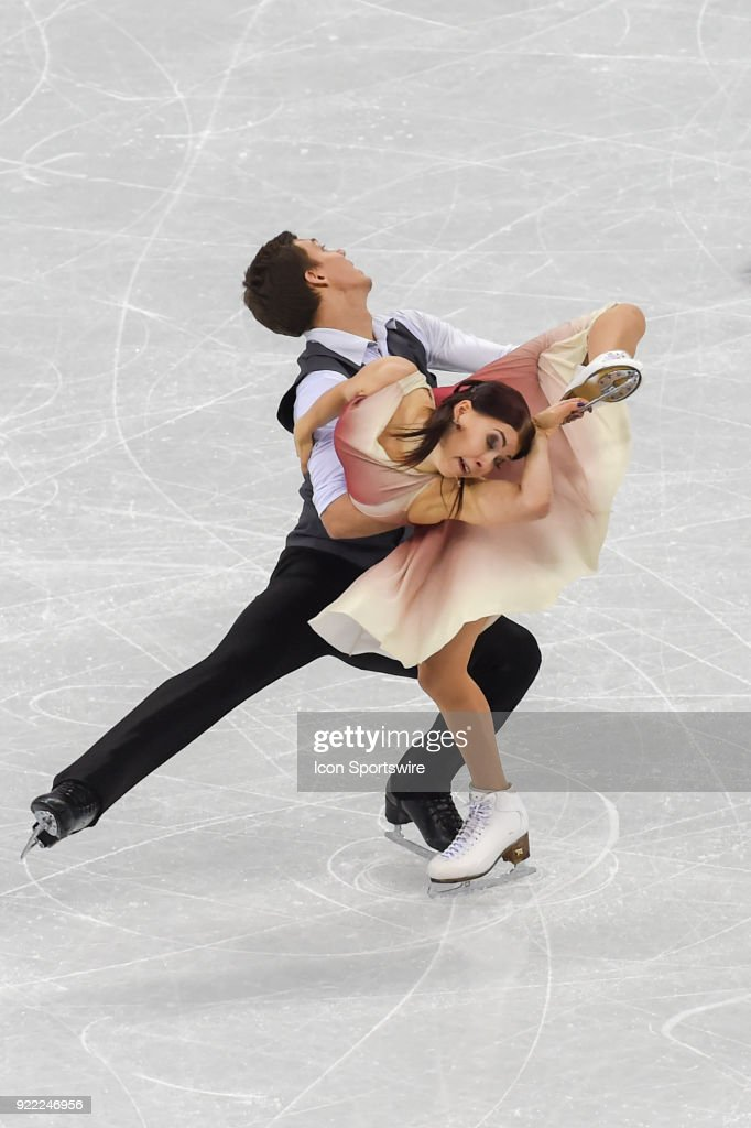 Ekaterina Bobrova and Dmitri Soloviev (OAR) skate in the free dance of the Ice Dancing competition during the 2018 Winter Olympic Games at the Gangneung Ice Arena on February 20, 2018 in PyeongChang, South Korea.