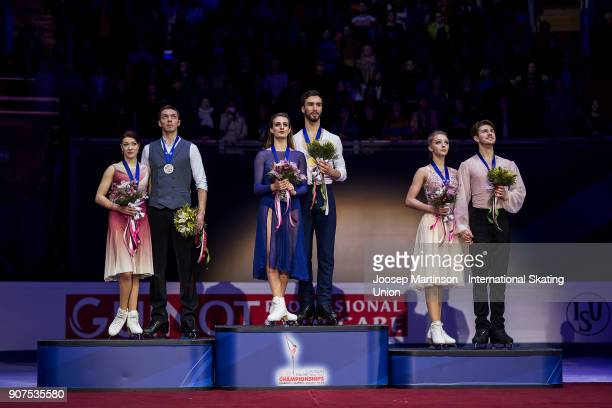 Ekaterina Bobrova and Dmitri Solovievof Russia Gabriella Papadakis and Guillaume Cizeron of France and Alexandra Stepanova and Ivan Bukin of Russia...