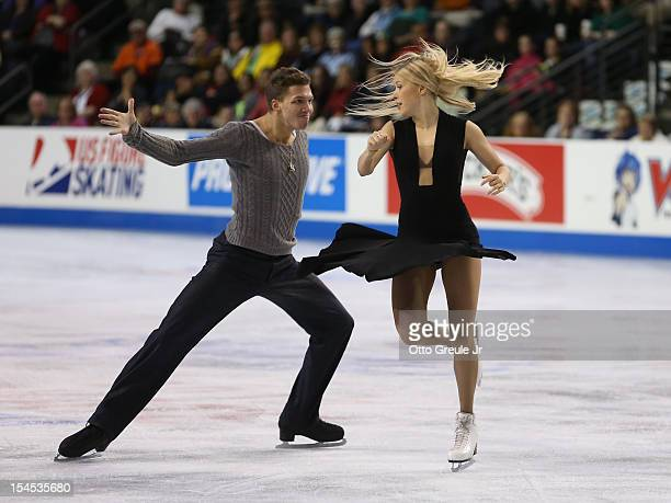 Ekaterina Bobrova Dmitri Soloviev of Russia skate in the free dance during the Skate America competition at the ShoWare Center on October 21 2012 in...