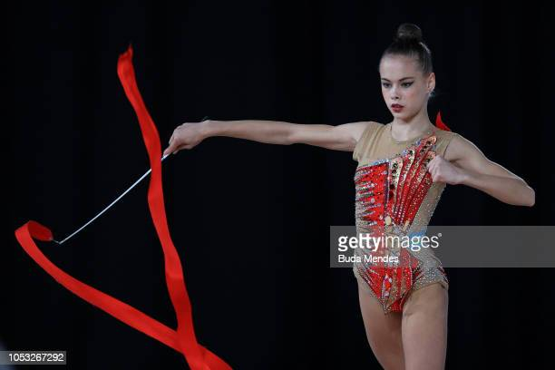 Ekaterina Fetisova of Uzbekistan competes in ribbon in Multidiscipline Team Event Final during Day 4 of Buenos Aires 2018 Youth Olympic Games at...