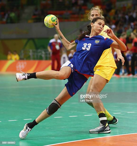 Ekaterina Ilina of Russia in action during the Womens Preliminary Group B match between Russia and Sweden at Future Arena on August 10, 2016 in Rio...