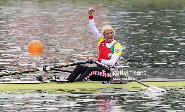 Ekaterina Karsten-Khodotovitch of Belarus celebrates after winning the women's single sculls during the FISA Rowing World Cup on June 20, 2010 in...