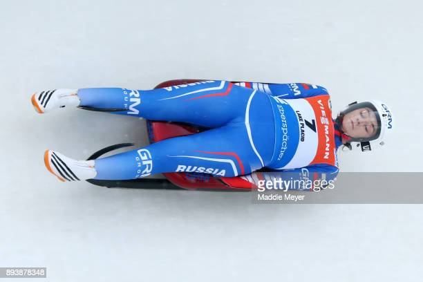 Ekaterina Katnikova of Russia completes her second run in the Women's competition of the Viessmann FIL Luge World Cup at Lake Placid Olympic Center...