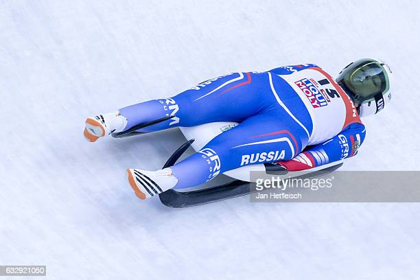 Ekaterina Katnikova of Russian Federation competes in the first heat of the Women's Luge competition during the second day of the FILWorld...
