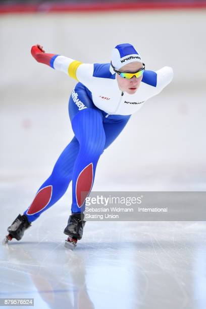 Ekaterina Kosheleva of Russia performs during the Ladies 1500 Meter at the ISU Junior World Cup Speed Skating at Max Aicher Arena on November 26 2017...