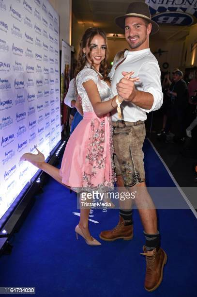 Ekaterina Leonova and Benjamin Piwko attend the Angermaier Trachtennacht at Hofbraeu Wirtshaus on August 29 2019 in Berlin Germany