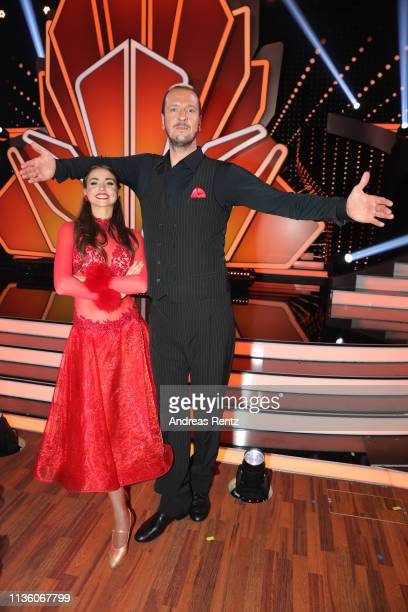 Ekaterina Leonova and Pascal Hens pose for a photograph during the preshow Wer tanzt mit wem Die grosse Kennenlernshow of the television competition...
