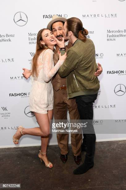 Ekaterina Leonova, Massimo Sinato and Gil Ofarim attend the Ewa Herzog show during the Mercedes-Benz Fashion Week Berlin Spring/Summer 2018 at...