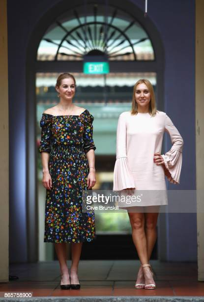 Ekaterina Makarova and Elena Vesnina of Russia arrive for the Doubles Draw during day 3 of the BNP Paribas WTA Finals Singapore presented by SC...