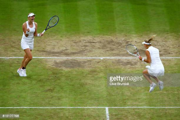 Ekaterina Makarova and Elena Vesnina of Russia celebrate victory in the Ladies Doubles Final against HaoChing Chan of Chinese Taipei and Monica...