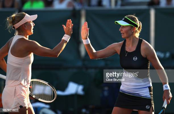 Ekaterina Makarova and Elena Vesnina of Russia during heir second round doubles match against Johanna Konta and Heather Watson of Great Britain...