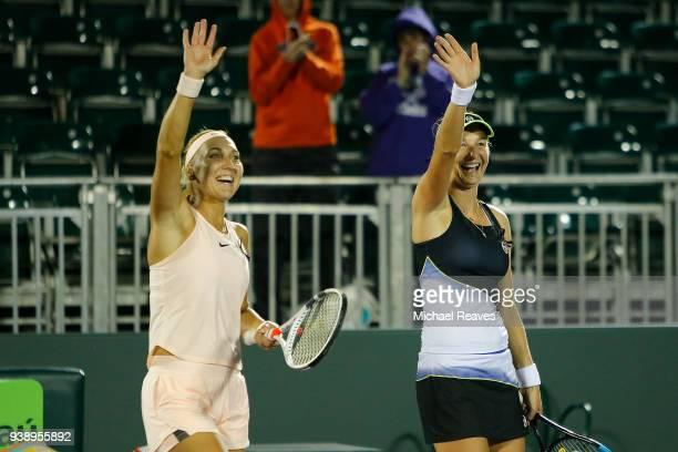 Ekaterina Makarova and Elena Vesnina of Russia wave to the crowd after defeating Lyudmyla Kichenok of Ukraine and Alla Kudryavtseva of Russia during...