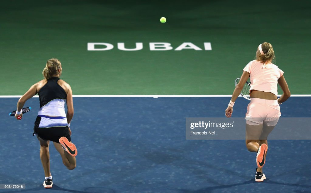 Ekaterina Makarova of Russia and Elena Vesnina of Russia in action against Su-Wei Hsiehof Taiwan and Shuai Peng of China during the women's doubles semi final match on day five of the WTA Dubai Duty Free Tennis Championship at the Dubai Tennis Stadium on February 23, 2018 in Dubai, United Arab Emirates.
