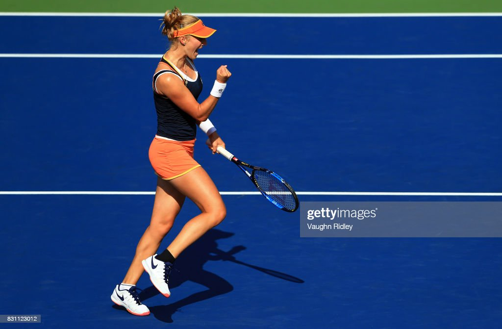 Ekaterina Makarova of Russia celebrates a point with partner Elena Vesnina of Russia as they compete against Anna-Lena Groenefeld of Germany and Kveta Peschke of Czech Republic in the doubles final match on Day 9 of the Rogers Cup at Aviva Centre on August 13, 2017 in Toronto, Canada.