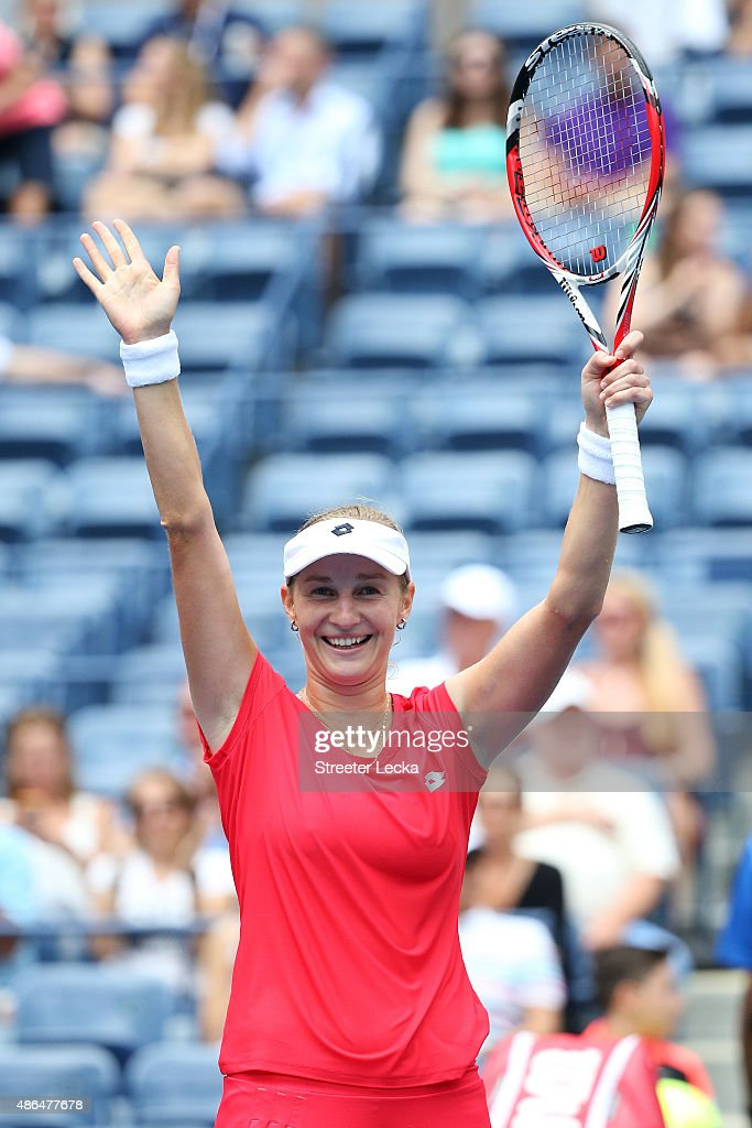Ekaterina Makarova of Russia celebrates after defeating Elina Svitolina of the Ukraine during their Women's Singles Third Round match on Day Five of the 2015 US Open at the USTA Billie Jean King National Tennis Center on September 4, 2015 in the Flushing neighborhood of the Queens borough of New York City.