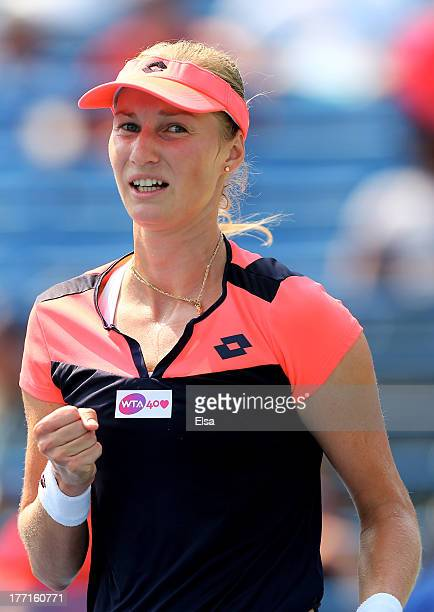 Ekaterina Makarova of Russia celebrates her match win over Sara Errani of Italy during Day Four of the New Have Open at Connecticut Tennis Center at...
