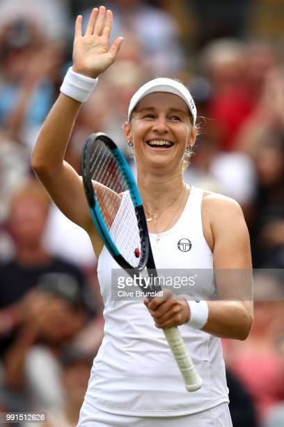 Ekaterina Makarova of Russia celebrates her victory over Caroline Wozniacki of Denmark after their Ladies' Singles second round match on day three of...