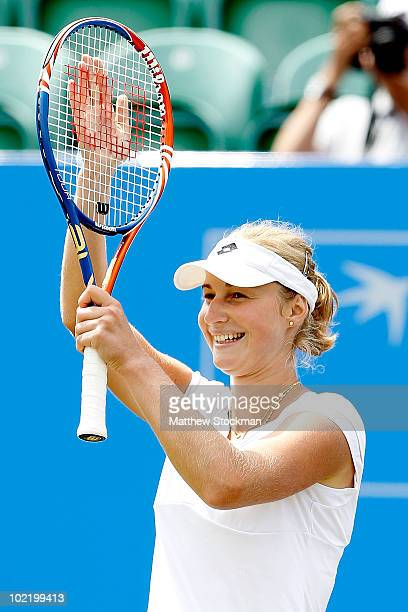Ekaterina Makarova of Russia celebrates her win over Samantha Stosur of Australia during the semifinals of the AEGON International at Devonshire Park...