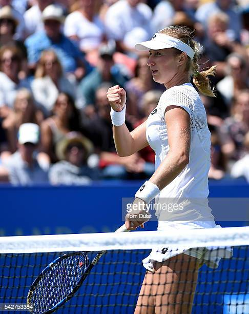 Ekaterina Makarova of Russia celebrates winning a point during her match against Johanna Konta of Great Britain on day six of the WTA Aegon...