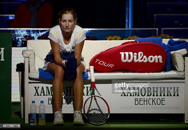 Ekaterina Makarova of Russia has a break during her women singles tennis match on the 5th day of Kremlin Cup 2014 Tennis Tournament at the Olympic...