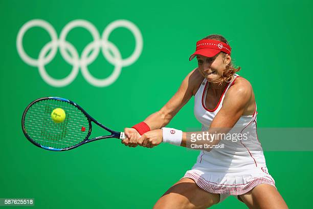Ekaterina Makarova of Russia hits during the women's third round singles match against Petra Kvitova of Czech Republic on Day 4 of the Rio 2016...
