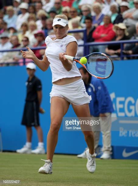 Ekaterina Makarova of Russia hits the ball on her way to winning the womens final against Victoria Azarenka of Belarus during day six of the AEGON...