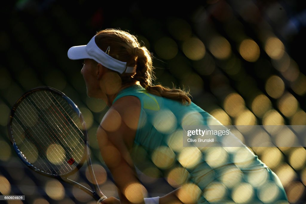 Ekaterina Makarova of Russia in action against Sara Sorribes Tormo of Spain in their first round match during day four of the BNP Paribas Open at Indian Wells Tennis Garden on March 9, 2017 in Indian Wells, California.