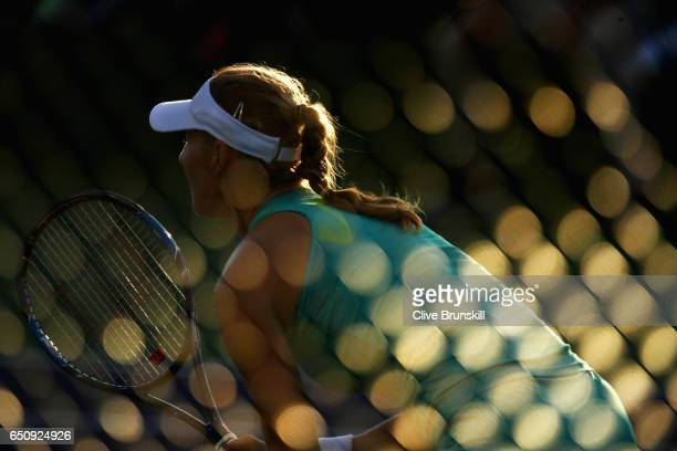 Ekaterina Makarova of Russia in action against Sara Sorribes Tormo of Spain in their first round match during day four of the BNP Paribas Open at...