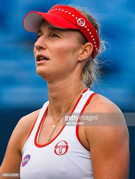 Ekaterina Makarova of Russia looks on during a match against Petra Kvitova of the Czech Republic on day 5 of the Connecticut Open at the Connecticut...