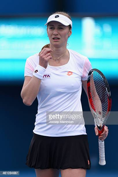 Ekaterina Makarova of Russia looks on in her match against Carla Suarez Navarro of Spain during day three of the 2014 Sydney International at Sydney...