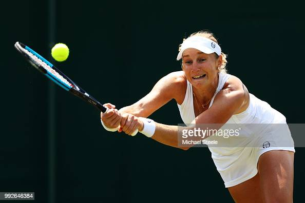 Ekaterina Makarova of Russia plays a backhand in her Ladies' Singles third round match against Lucie Safarova of Czech Republic on day five of the...