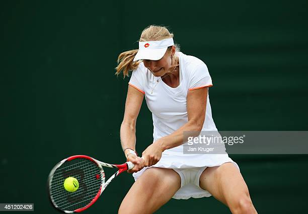 Ekaterina Makarova of Russia plays a backhand shot during her Ladies' Singles second round match against Misaki Doi of Japan on day three of the...