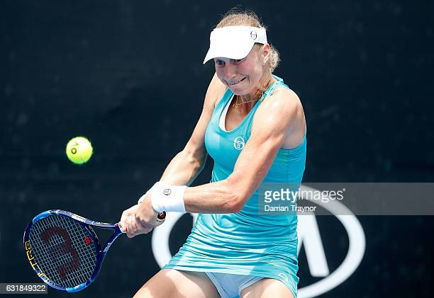 Ekaterina Makarova of Russia plays a forehand during her first round match against Ekatarina Alexandrova of Russia on day two of the 2017 Australian...