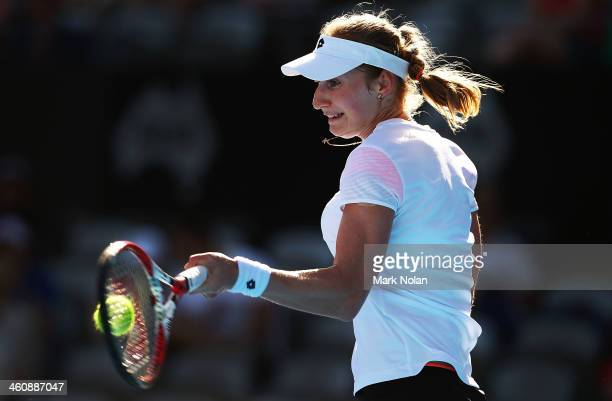 Ekaterina Makarova of Russia plays a forehand in her match against Jelena Jankovic of Serbia during day two of the Sydney International at Sydney...