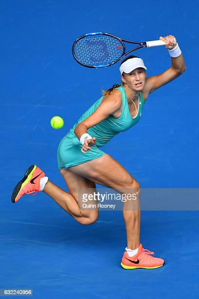 Ekaterina Makarova of Russia plays a forehand in her third round match against Dominika Cibulkova of Slovakia on day six of the 2017 Australian Open...