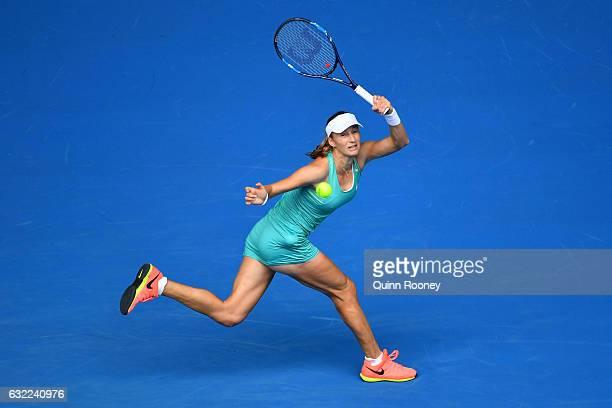 Ekaterina Makarova of Russia plays a forehand in her third round match against Dominika Cibulkova of Slovakia on day six of the 2017 Australian Open...