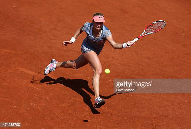 Ekaterina Makarova of Russia plays a forehand in her Women's Singles match against Louisa Chirico of the United States on day one of the 2015 French...