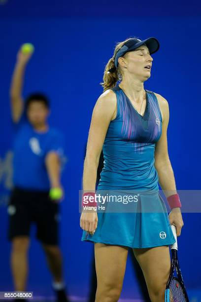 WUHAN CHINA SEPTEMBER Ekaterina Makarova of Russia reacts during the match against Caroline Garcia of France on Day 5 of 2017 Dongfeng Motor Wuhan...