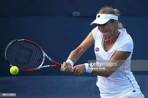 Ekaterina Makarova of Russia returns a shot to Anastasia Pavlyuchenkova of Russia during the Citi Open at Rock Creek Park Tennis Center on August 8...