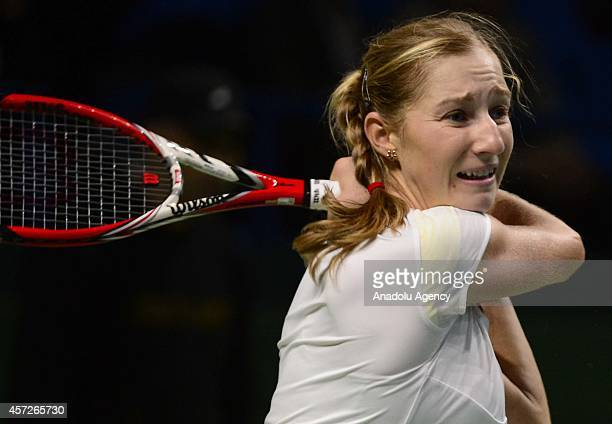 Ekaterina Makarova of Russia returns the ball during her women singles tennis match on the 5th day of Kremlin Cup 2014 Tennis Tournament at the...