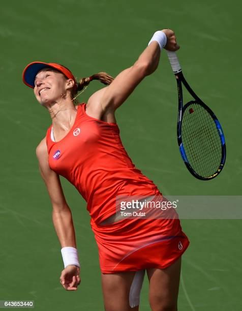 Ekaterina Makarova of Russia serves against Lauren Davis of United States during day four of the WTA Dubai Duty Free Tennis Championship at the Dubai...