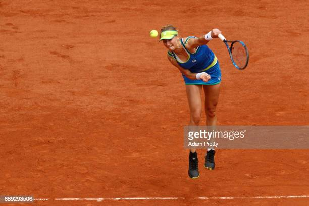 Ekaterina Makarova of Russia serves during the ladies singles first round match against Angelique Kerber of Germany on day one of the 2017 French...