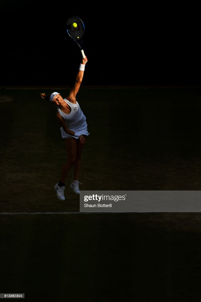 Ekaterina Makarova of Russia serves during the Mixed Doubles third round match against Jocelyn Rae of Great Britain and Ken Skupski of Great Britain on day nine of the Wimbledon Lawn Tennis Championships at the All England Lawn Tennis and Croquet Club on July 12, 2017 in London, England.