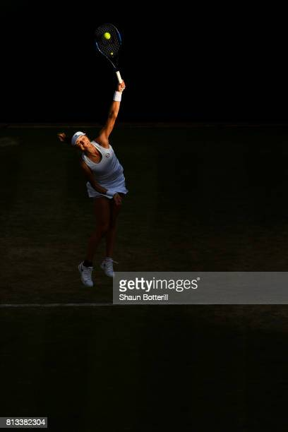 Ekaterina Makarova of Russia serves during the Mixed Doubles third round match against Jocelyn Rae of Great Britain and Ken Skupski of Great Britain...