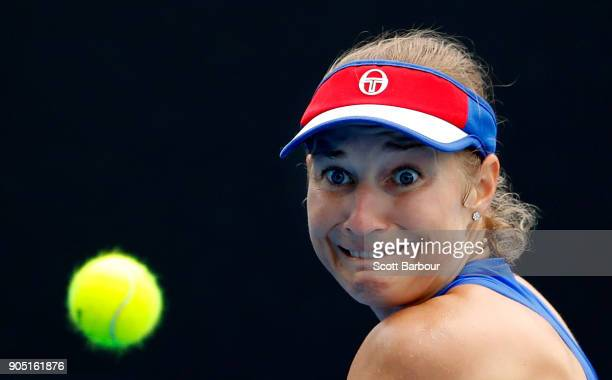 Ekaterina Makarova of Russia watches the ball in her first round match against IrinaCamelia Begu of Romania on day one of the 2018 Australian Open at...