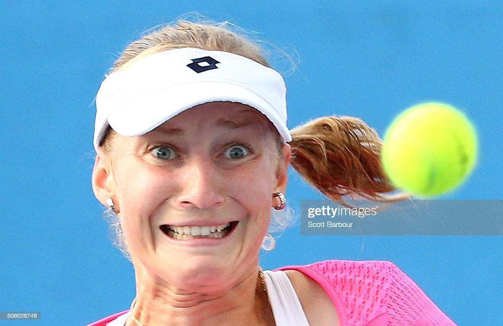 Ekaterina Makarova of Russia watches the ball in her second round match against Tatjana Maria of Germany during day four of the 2016 Australian Open at Melbourne Park on January 21, 2016 in Melbourne, Australia.