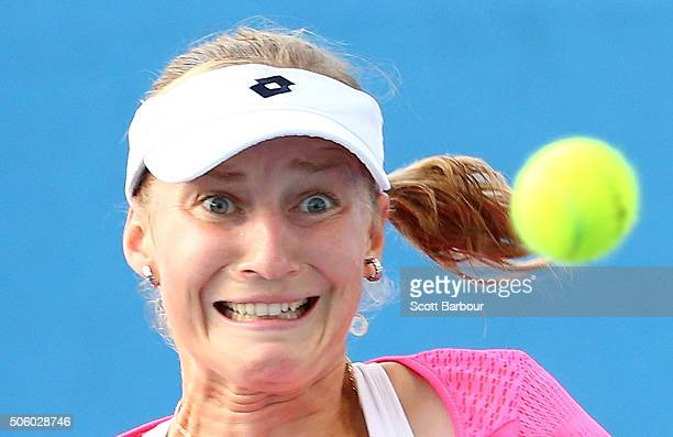 Ekaterina Makarova of Russia watches the ball in her second round match against Tatjana Maria of Germany during day four of the 2016 Australian Open...