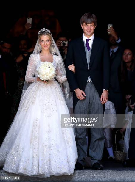 Ekaterina of Hanover and Prince Ernst August of Hanover leave after their church wedding ceremony in Hanover central Germany on July 8 2017 Prince...