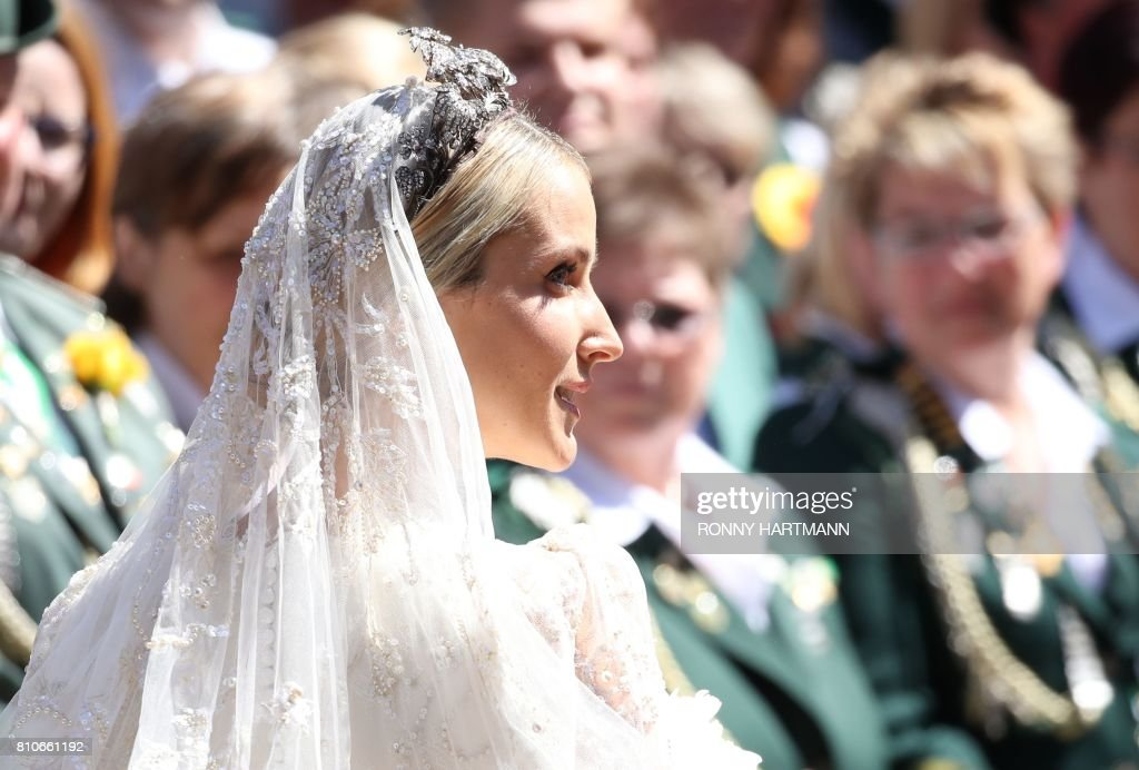 Ekaterina of Hanover arrives for her church wedding in Hannover, central Germany, on July 8, 2017. Prince Ernst August of Hanover did not give in to the injunctions of his father and married his fiancee Ekaterina Malysheva, a fashion designer of Russian origin. / AFP PHOTO / Ronny HARTMANN